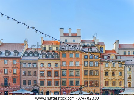 Beautiful colored building in old town in Warsaw