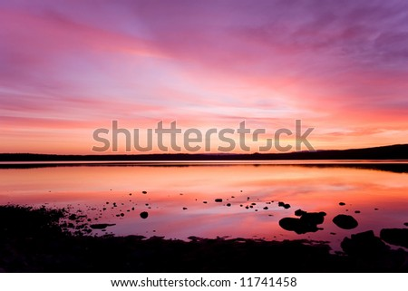 beautiful colored  sky in the sunset over sea water for wallpaper use