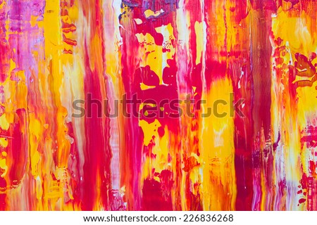 Beautiful colorful abstract stylized textured background, paint strokes, spots and blotches stains, card wallpaper with copy space  - stock photo