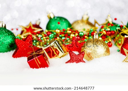 Beautiful colorful christmas decoration in snow