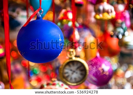 Beautiful colorful Christmas Decorations with room for text