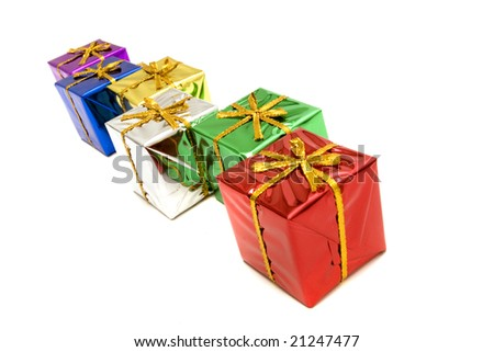 Beautiful colorful Christmas gift boxes