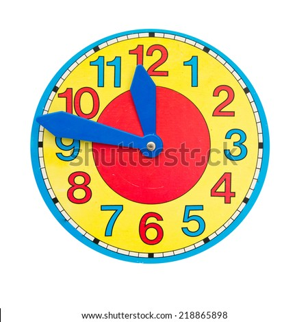 beautiful colorful clock dial clock-face on isolated white background - stock photo