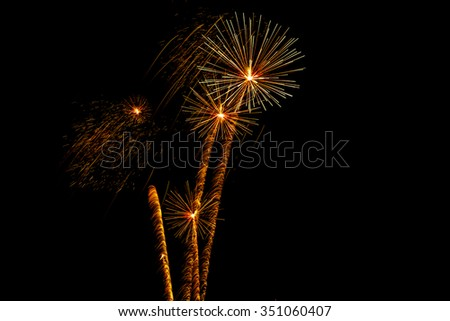 Beautiful colorful firework display for celebration happy new year and merry Christmas on white isolated background