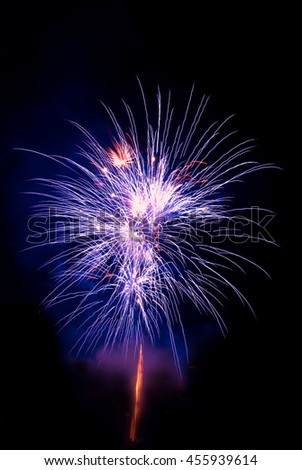 Beautiful colorful firework isolated display for celebration happy new year and merry christmas on black isolated background