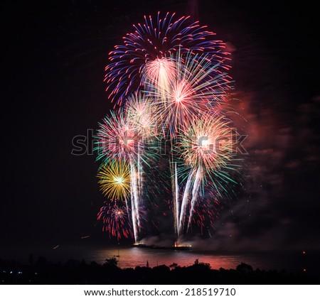 Beautiful colorful fireworks  background - stock photo