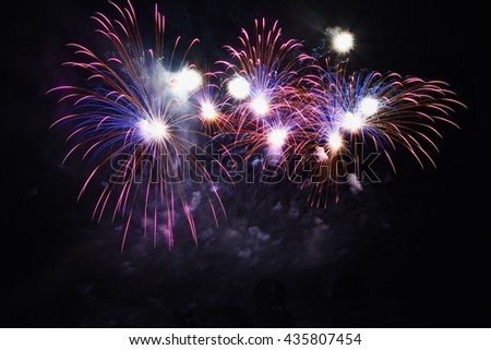 Beautiful colorful fireworks on water. Brno dam. International Fireworks Competition Ignis Brunensis.  - Czech Republic - Europe. - stock photo