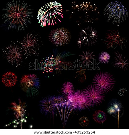 Beautiful Colorful fireworks over dark sky background - stock photo