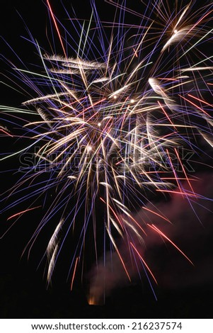 Beautiful colorful fireworks with night sky, isolated - stock photo