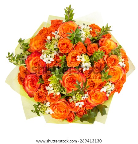 beautiful colorful fresh flowers bouquet isolated on white background - stock photo