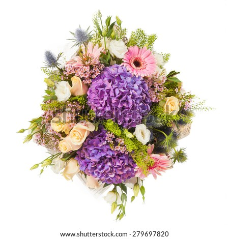 beautiful colorful fresh flowers bouquet isolated on white background. - stock photo