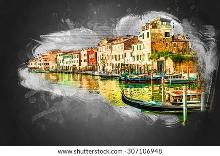 Beautiful colorful image of a canal in Venice with moorings and a gondola in the forefront and old houses under blue cloudy sky in the background. - stock photo