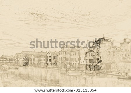 Beautiful colorful image of a canal in Venice with moorings and gondola in the forefront and old houses under blue cloudy sky in the background. Painting of travel scene, pencil outlines of background