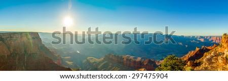 beautiful colorful landscape grand canyon national park arizona panorama sun rays - stock photo