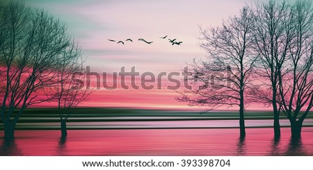 Beautiful colorful natural landscape. - stock photo