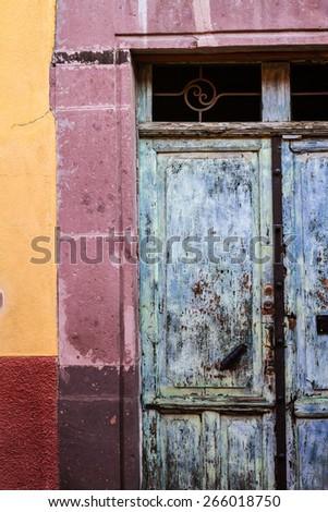 Beautiful colorful old door in San Miguel de Allende - Mexico - stock photo