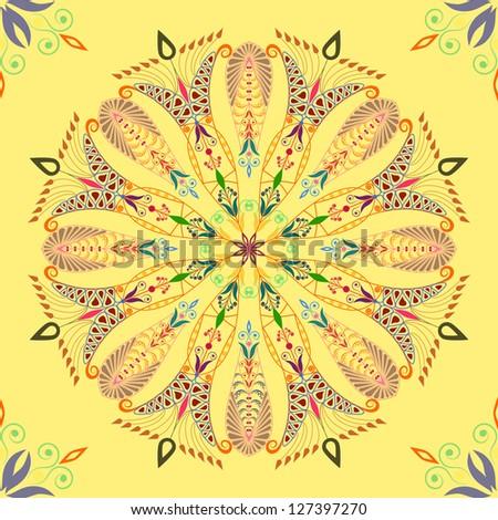 Beautiful colorful pattern on yellow background. Seamless - stock photo