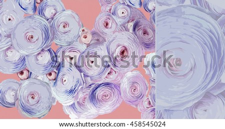 Beautiful colorful roses on pink background - stock photo