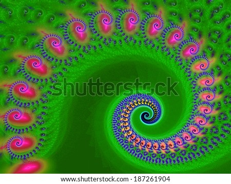 Beautiful colorful spiral. Digitally generated fractal pattern. Can be used as a design element or a background. The image contains pink, purple, and green colors. - stock photo