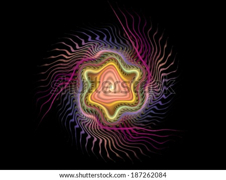 Beautiful colorful spiral. Digitally generated fractal pattern. Can be used as a design element or a background. The image contains black, yellow, and purple colors. - stock photo