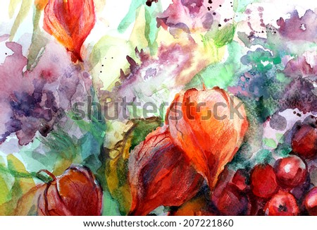 Beautiful colorful still life with autumn flowers,fruits and berries. Watercolor on paper. - stock photo