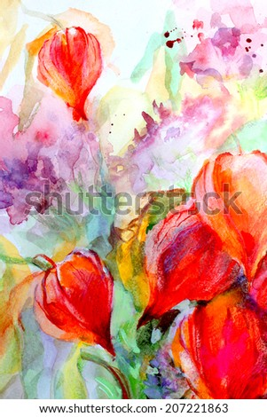 Beautiful colorful still life with autumn flowers,fruits and berries. Watercolor on paper.