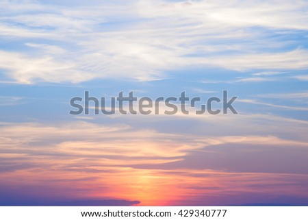 beautiful colorful sunset, the clouds at sunset
