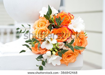 Beautiful colorful wedding bouquet - stock photo