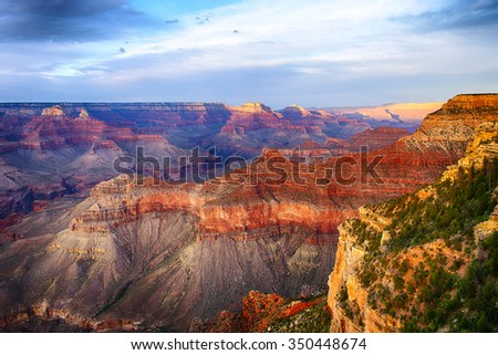 Beautiful colors and shapes of the Grand Canyon shortly after the sunset at Yavapai Point. Arizona, USA - stock photo