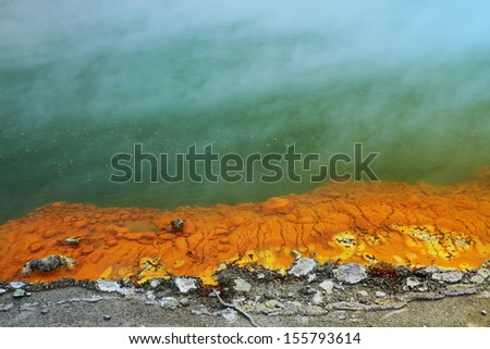 Beautiful colors and textures of the hot spring in Rotorua, New Zealand - stock photo