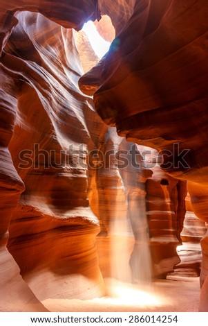 Beautiful colors at Upper Antelope Canyon - stock photo