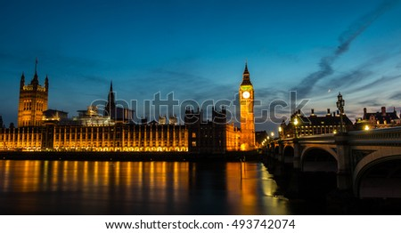 Beautiful colors of Big Ben from Westminster Bridge at Sunset - London. Big Ben seen from Westminster Bridge, London, the UK. at sunset.
