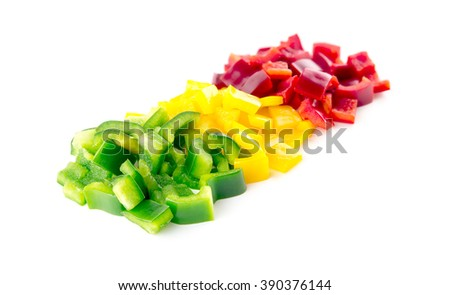 Beautiful colors of chopped capsicum bell peppers - stock photo
