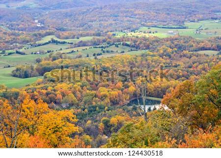 Beautiful colors of fall.Lake view of Shanandovah valley. USA - stock photo