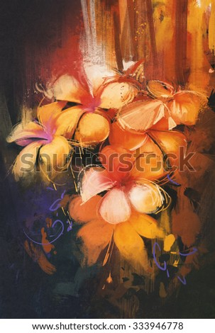 beautiful colors of flowers,oil painting style - stock photo