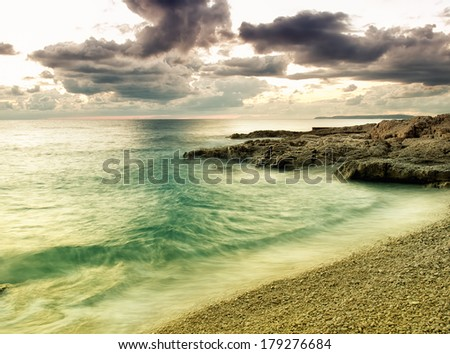 Beautiful colors over the horizon of the Adriatic Sea. - stock photo
