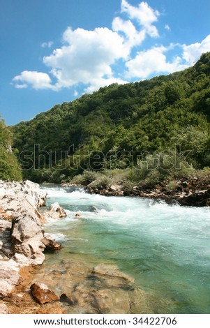 Beautiful colour of stream Neretva river   in Bosnian mountains, Bosnia and Herzegovina