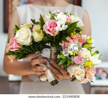 beautiful colourful bunch of roses - stock photo