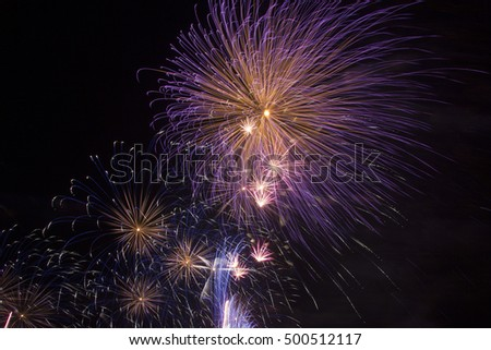 Beautiful colourful fireworks on dark sky background
