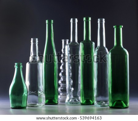 beautiful composition of glass bottles