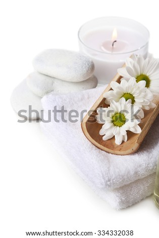 Beautiful composition of spa treatment, isolated on white - stock photo