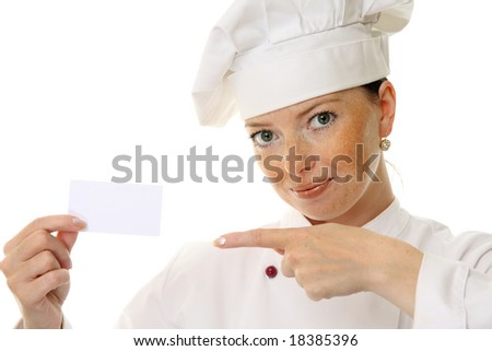 Beautiful cook woman holding blank card over a white background