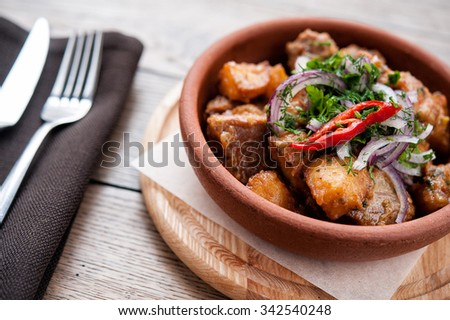 Beautiful cooked meat with vegetables- Hotpot - stock photo