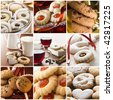 Beautiful cookie collage made from nine photos - stock photo