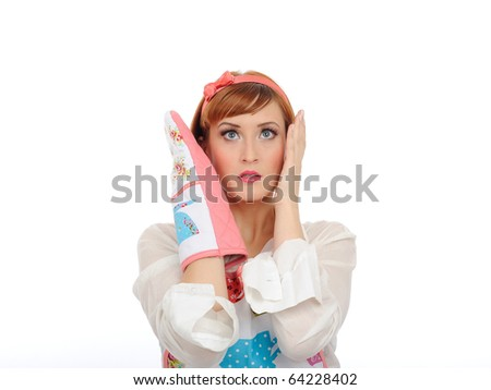 Beautiful cooking woman in apron and kitchen glove in panic. isolated on white background - stock photo