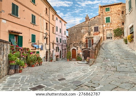 beautiful corner of the old italian town Castagneto Carducci, the village where he lived the poet Giosue Carducci, near Leghorn in Tuscany, Italy