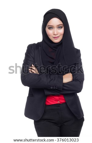beautiful corporate muslimah woman with office attire crossing arm in white background