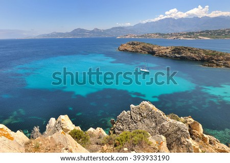 beautiful Corsica - France -coastline with turquoise sea  - stock photo
