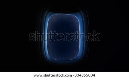Beautiful cosmos in space ship window porthole. Elements of this image furnished by NASA. - stock photo