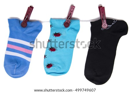 beautiful cotton socks isolated on white background